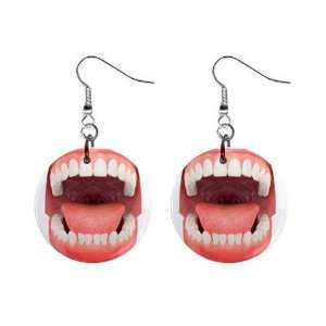 Open Mouth Dentist Dental Hygienist Dangle Earrings Jewelry 1 inch