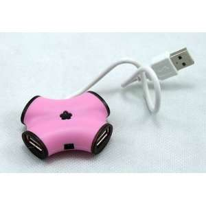 Pink Ribbon 4 Ports USB HUB High Speed For Laptop