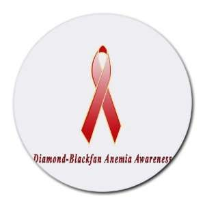 Diamond Blackfan Anemia Awareness Ribbon Round Mouse Pad