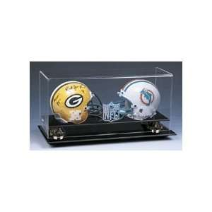 Double Mini Football Helmet Display Case with Gold Risers