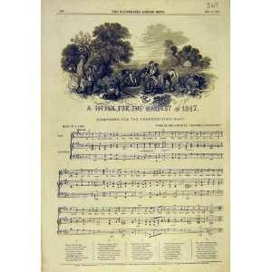 1847 Hymn Harvest Music Score Song Sheet Old Print: Home