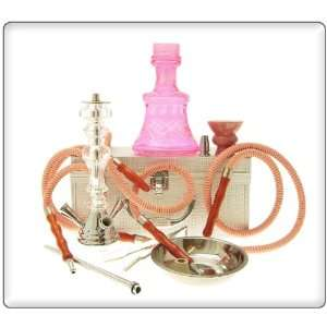 19 2 Hose Pink Clear Crystal Maju Hookah with case