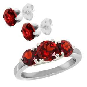 Stone Red Garnet .925 Sterling Silver Ring (Ring2.26Ct Studs2.00Ct