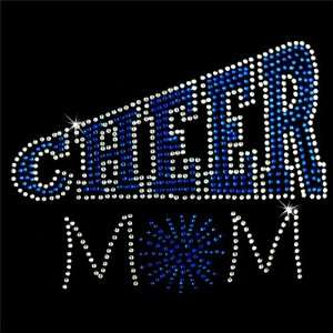 Iron on Hot Fix Rhinestone Motif Design Cheer Mom 3 Arts