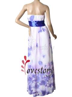 NWT Bow Chiffon Blues Floral Printed Strapless Evening Dress 09687 US