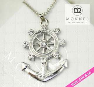 R201 Boat Anchor & Wheel Charm Necklace (+Gift Box)