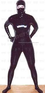 Latex rubber 0.8mm Ninja Catsuit suit zentai bodysuit unique unitard