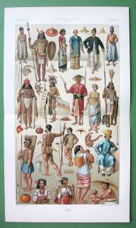 SINGAPORE Java Hawaii Philippines Costume of Natives   COLOR Print A