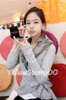 new Korean women wrap front faux fur collar top grey xs/s