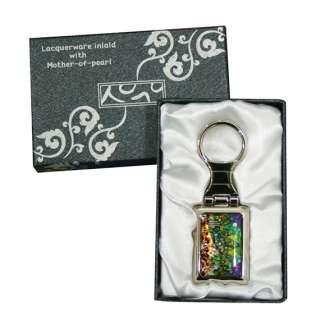 Mother of Pearl Bird Flower Charm Black Keychain Key Ring Gift Keyring