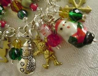 SYMBOLS OF CHRISTMAS CHARM BRACELET Santa, Reindeer, Snowman, Trees