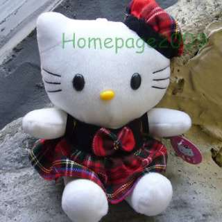 NEW HELLO KITTY WEAR IN CHECKED SKIRT/HAT CUDDY PLUSHIES DOLL TKT010