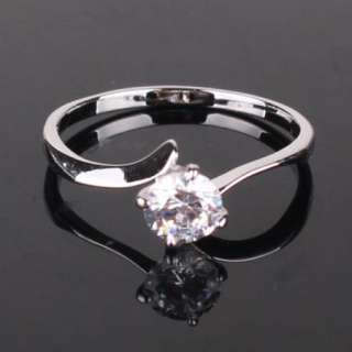 Valentines day gift diamond cut crystal 18K white gold filled lady
