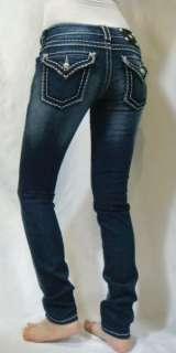 NWT MISS ME Womens Jeans Glitz Glam Crystal Wide Pick Stitch Skinny