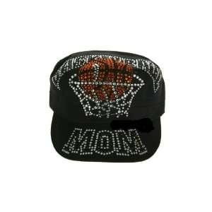 Black Cadet Style Rhinestone Studded Basketball Mom Hat
