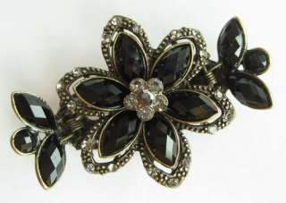 VARY COLORS SWAROVSKI CRYSTAL BRONZE FLOWER HAIR CLAW CLIP 144 VINTAGE