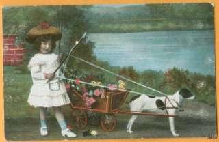 Victorian Girl   Dog flower wagon   terrier   1436