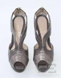 Fendi Taupe & Dark Brown Snake Skin Cutout Platform Heels Size 35