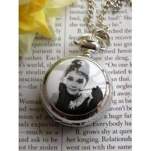 Beautiful Stainless Silver Tone Steel Young Girl Audrey Hepburn Photo