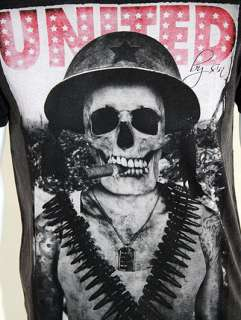 SINSTAR CLOTHING United by Sin Skeleton Soldier Print T Shirt   Grey
