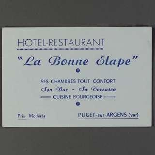 1940 Biz Card Bonne Etape Hotel Puget sur Argens France
