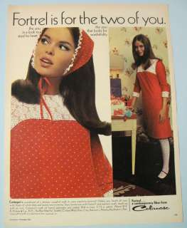 Celanese Pretty Brunette Red White Dress & Kerchief 60s Fashion Ad