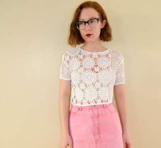 Vintage 1990 Crochet Crop Top White Sun Netting Short Sleeve Cropped