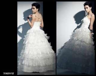 Japan White Sexy Cake Lace Layer Long Bridal Dress Gown