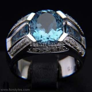 Lab Sapphire Diamonds 10K Solid Gold Mens Ring r10200