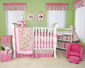 TREND LAB PAISLEY PARK PINK GREEN 4 PC NURSERY CRIB BEDDING SET