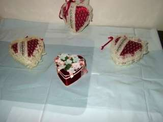 Lot of 4   Heart Ornaments Valentines XMas Gift tieons