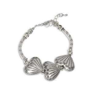 8 Inch Silver Marcasite Beautiful Shell Link Bracelet