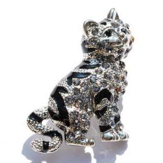 FREE Gray Cat White Golden Plated Brooch Pin 24080