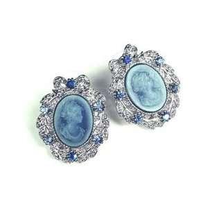 Vintage Style Blue Austrian Rhinestone Lady Cameo Silver