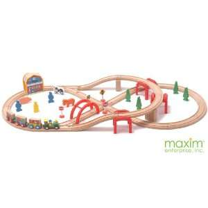 52 Piece Multi Level Wooden Toy Train Set: Toys & Games