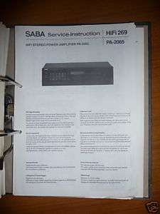 Service Manual für Saba PA 2065 Amplifier,ORIGINAL