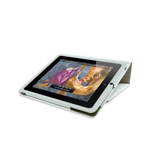 NEW WHITE PU LEATHER CASE COVER TYPING STAND FOR APPLE IPAD 2