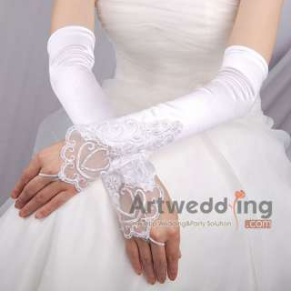 11 White Satin Lace Pearl Wedding Party Bridal Opera long Fingerless