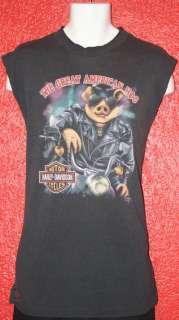vtg HARLEY DAVIDSON 3D EMBLEM great american hog t shirt RARE