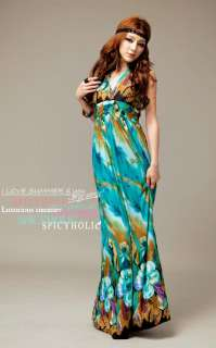 NEW KOREA LADY FASHION SEXY LONG MAXI BEACH ELEGANT BOHO SUMMER DRESS