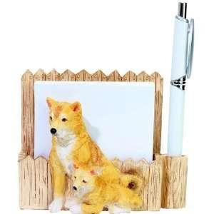 Shiba Inu Dog Handpainted Magnetic Notepad Pen Holder
