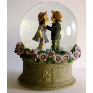 Kim Anderson Boy and Girl Kissing Musical Snow Globe TUNE