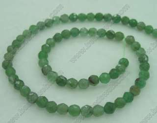 6mm Chinese Dongling Green Jade Faceted Round Beads 15