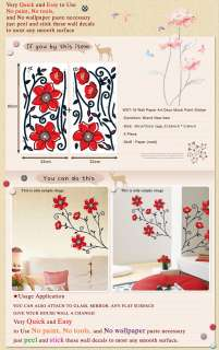 WST 18 RED FLOWER Peel & Stick Wall Decor Decal Sticker