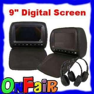 AUTOTAIN 2x (Pair) BLACK 9 DIGITAL Headrest DVD Player Monitor w