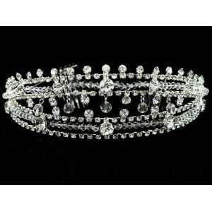 Bridal Wedding Swarovski Crystal Pearl Crown Tiara T55