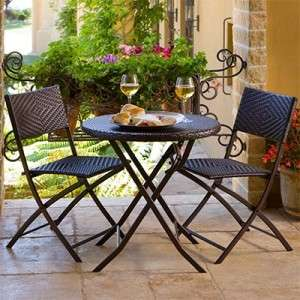 Portofino 3 piece Folding Bistro Set by RST Outdoor All Weather Woven