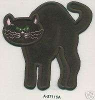 75 x 3.75 inches Standing Black Cat Halloween embroidery applique