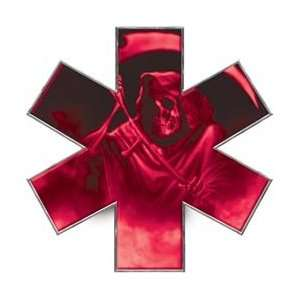Grim Reaper Star of Life EMT EMS Pink 6 Reflective Decal