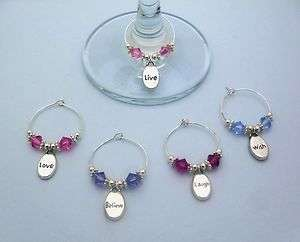 CRYSTAL WORD WINE GLASS CHARM RINGS LIVE LAUGH LOVE BELIEVE WISH